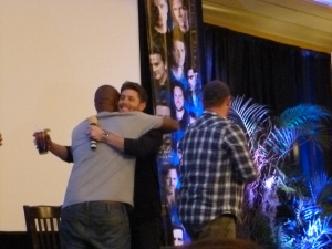 A Jensen and Rick reunion hug onstage