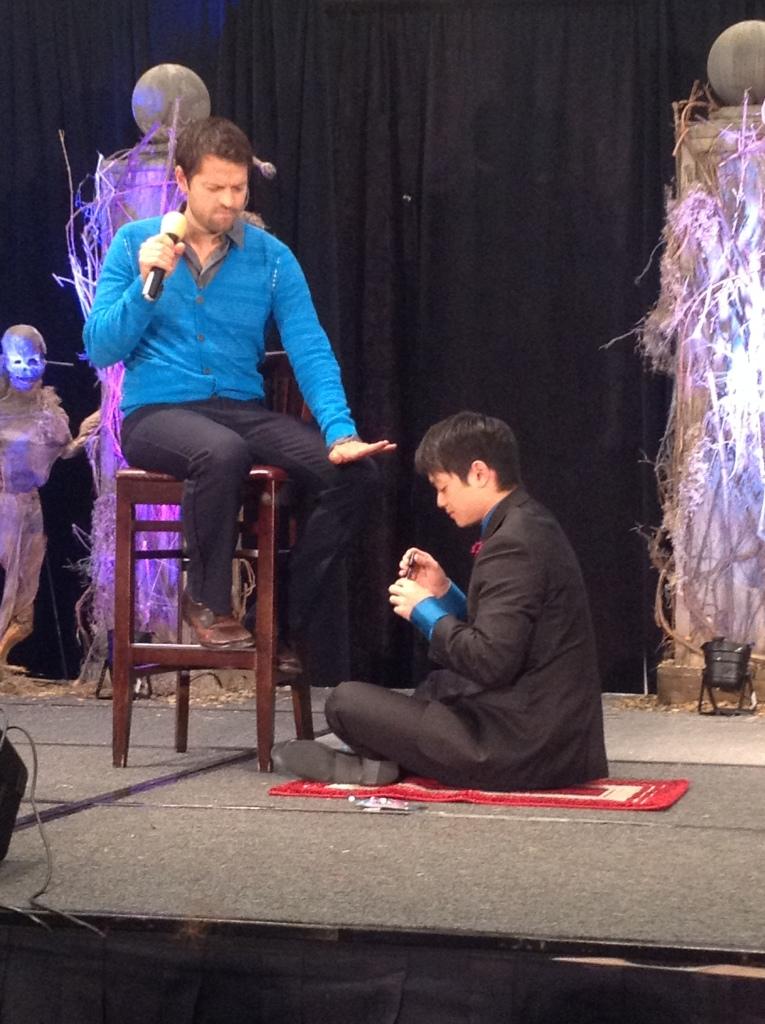 Osric paints Misha's nails