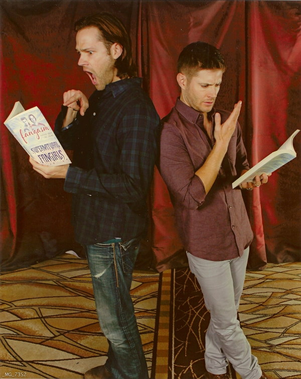 Jared and Jensen read their favorite parts of Fangasm... (Chris Schmelke)