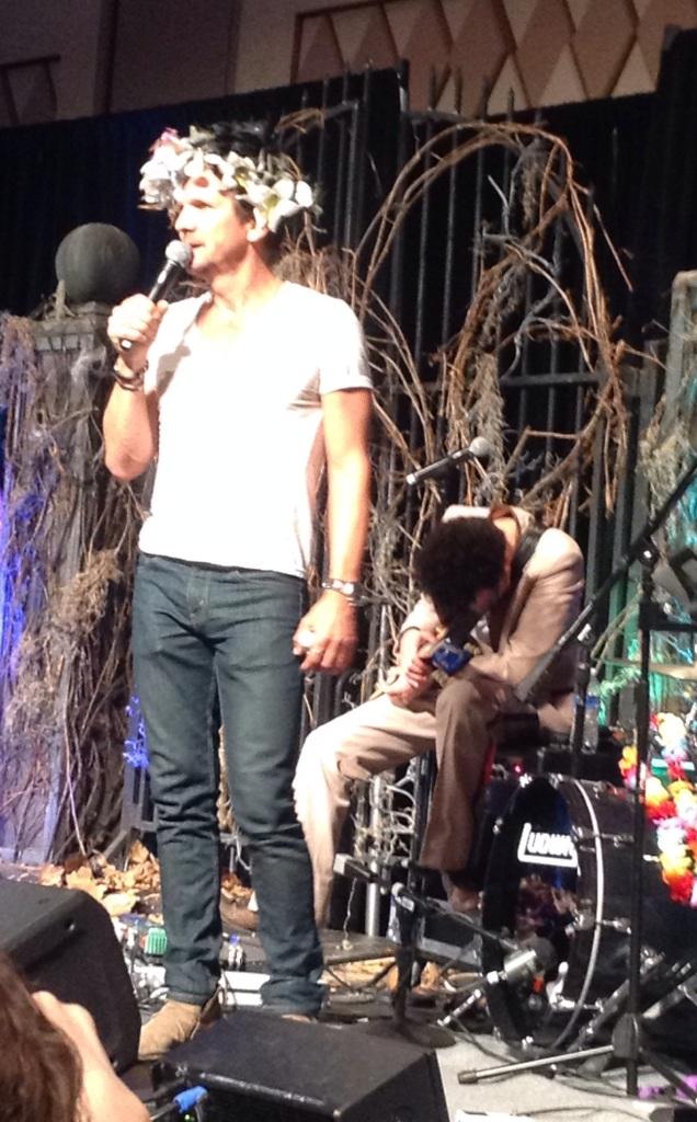 Sebastian dons a fan's flower crown
