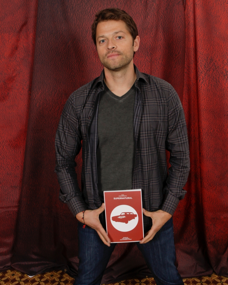 Misha models Fan Phenomena: Supernatural. Next time we're asking for JUST the book.