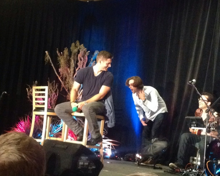 Jared overcome by how hot Jensen's voice is....umm, me too Jared...