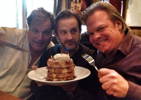 On set with Jim Michaels and Russ Hamilton. And lots of food.