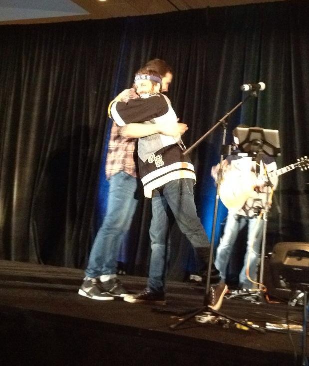 Gil hugs Rob