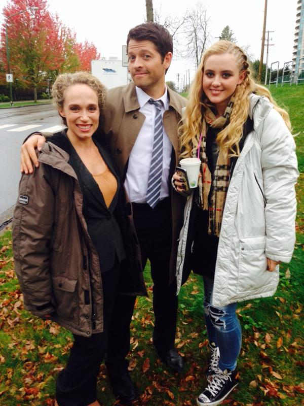 Misha with guest actors Jennifer Copping and Kathryn Newton
