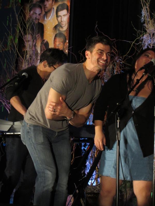 Matt sings backup, with Creation's Stephanie Dizon