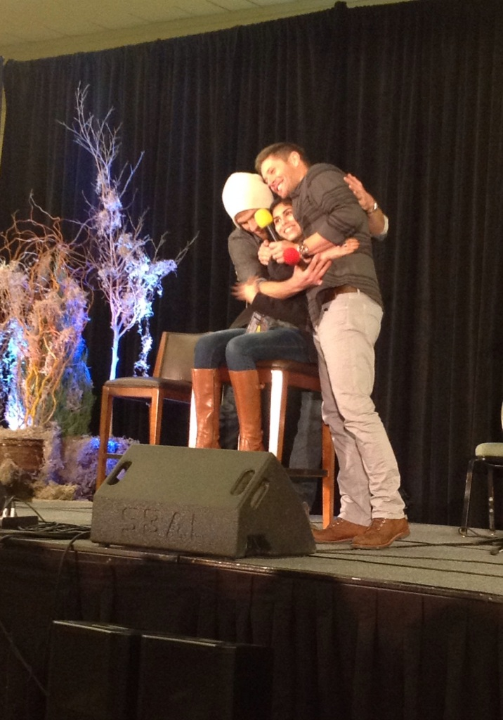 A J2 hug for the last question fan