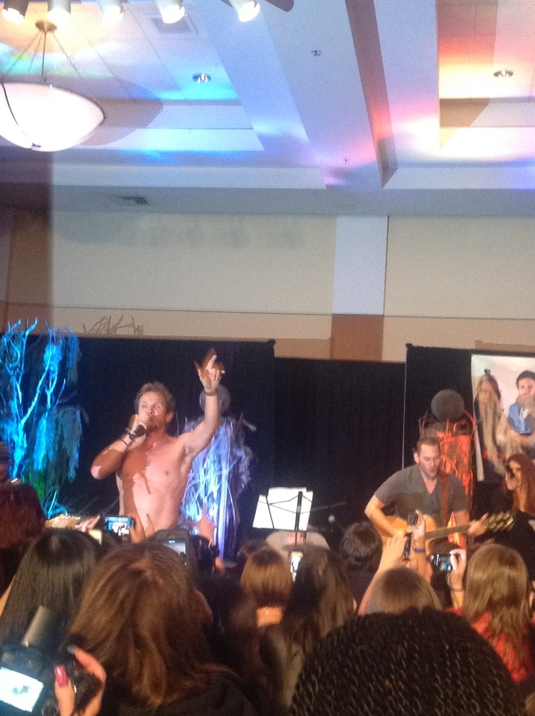 Sebastian sings shirtless. Of course he does.