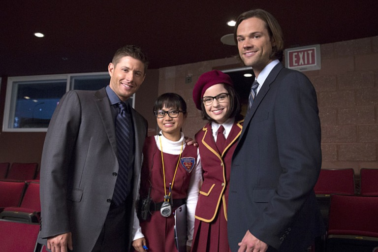 Joy Regullano and Katie Sarife with Jared and Jensen