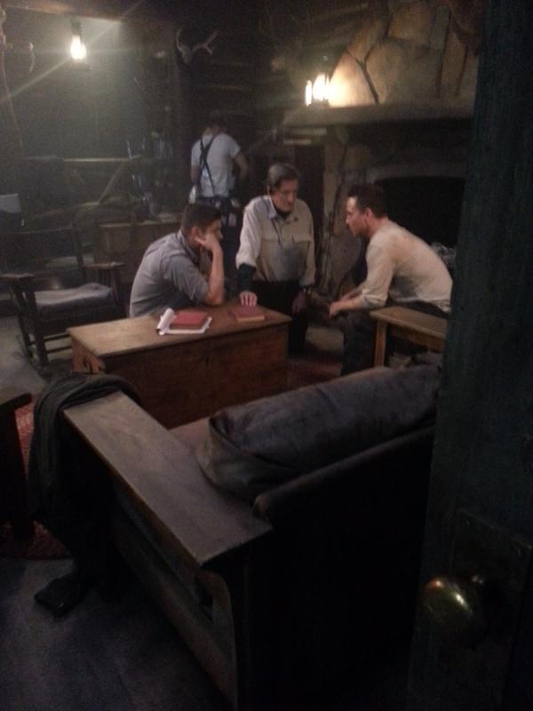 Travis and Jensen consult with director Badham (tweet TravisAaronWade)