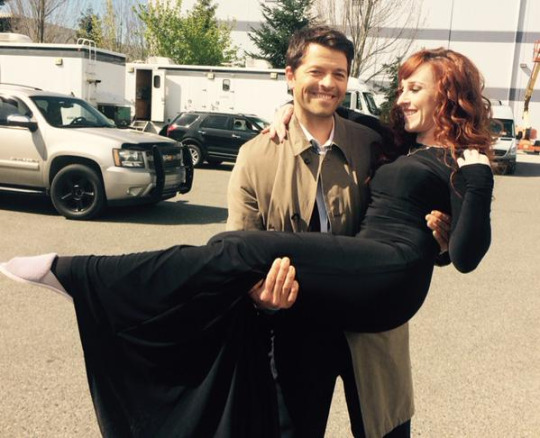Having fun on set with Misha