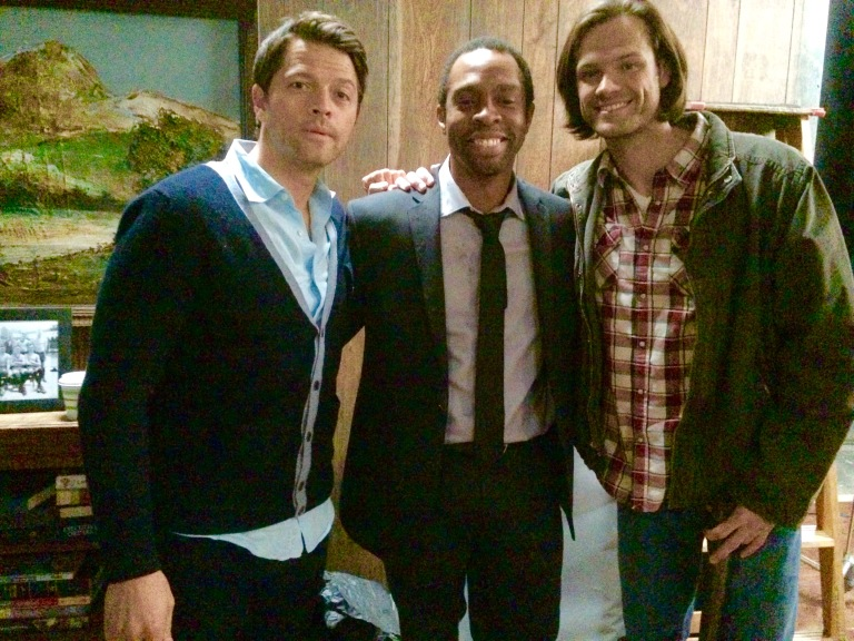 On set with Misha and Jared (courtesy Treva Etienne)