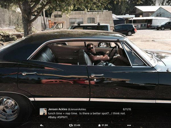 Jensen tweets nap time in Baby during filming