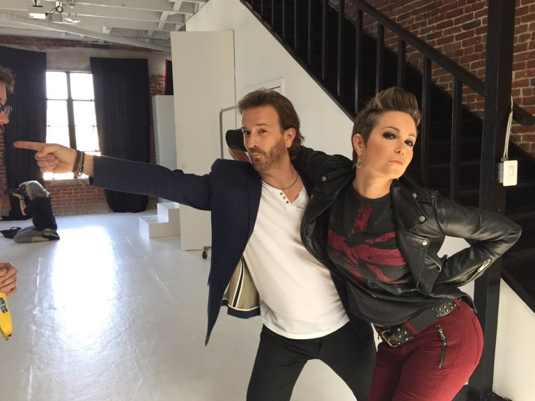 Richard and Kim Rhodes on the set of Kings of Con